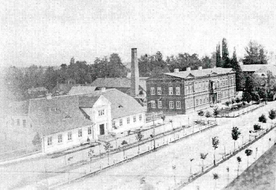 """Kantor główny firmy """"Krusche i Ender"""" oraz dom mieszkalny Enderów (lata 70-te XIX wieku). Ze zbiorów Muzeum Miasta Pabianic"""