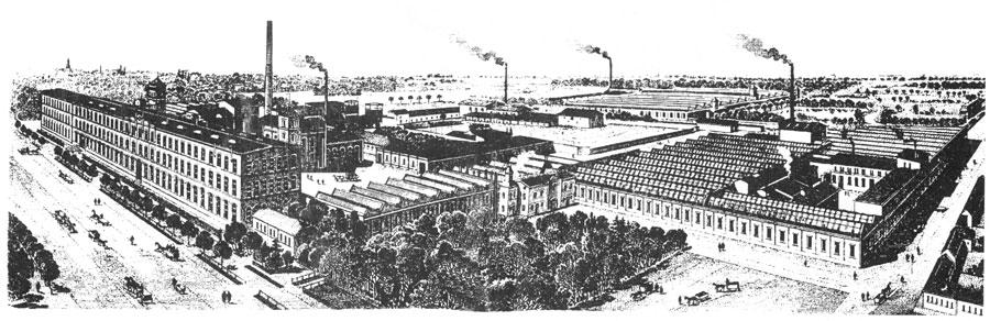 """Panorama zakładów """"Krusche i Ender"""" (fragment etykiety fabrycznej z lat 20-tych XX wieku; ze zbiorów Muzeum Miasta Pabianic)"""