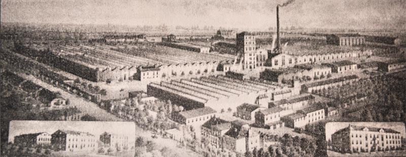 Panorama zabudowań fabrycznych Towarzystwa Schlösserowskiej przędzalni bawełny i tkalni w Ozorkowie