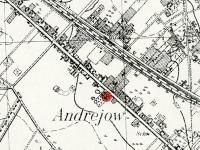 Symbol kościoła na przedwojennej mapie Andrzejowa