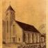 Projekt kościoła ewangelickiego w Grabieńcu na okolicznościowej pocztówce-cegiełce