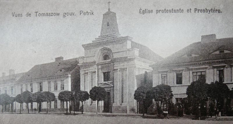 Kościół ewangelicko-augsburski w Tomaszowie Mazowieckim na pocztówce z 1899 roku